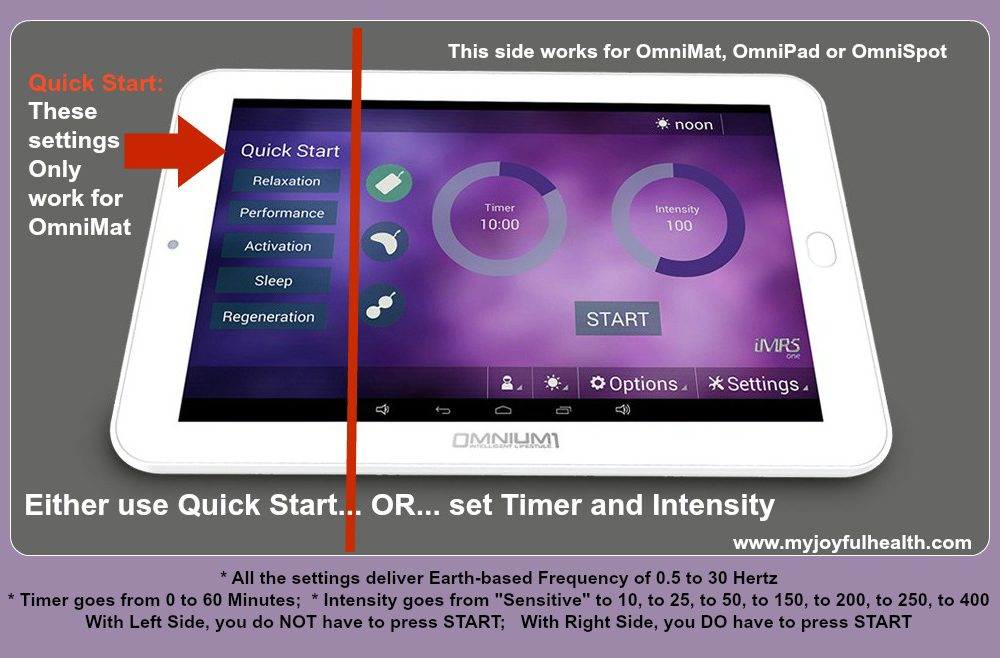 PEMF Settings Omnium1 Android Tablet Time and Intensity