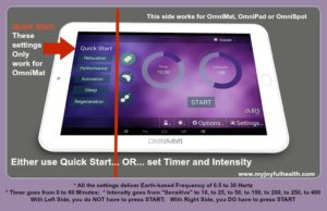 PEMF Settings Omnium1 Android Tablet